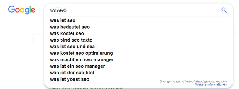 Weiterführende Funktion von Google Suggest