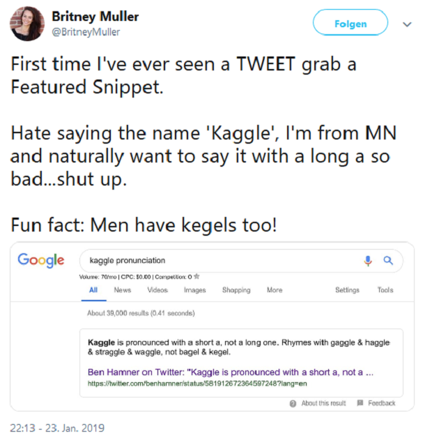Tweet von Britney Muller (MOZ) über Tweets in Featured Snippets