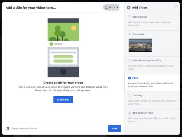 Neue Video-Funktion bei Facebook: Umfragen einbinden ©allfacebook
