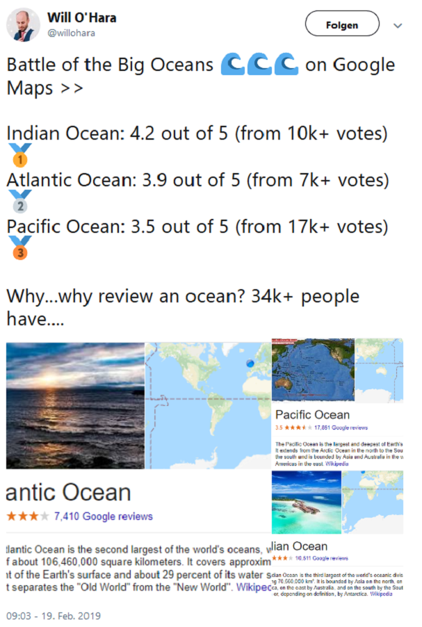 The Battle oft he Oceans auf Google Maps, festgehalten in einem Tweet