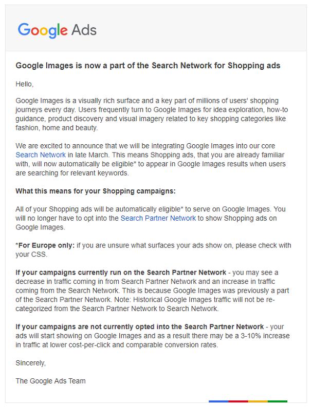 E-Mail an die Nutzer von Google Ads bezüglich der Umstellung