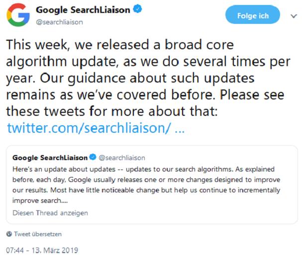 Offizieller Tweet zum Core-Update