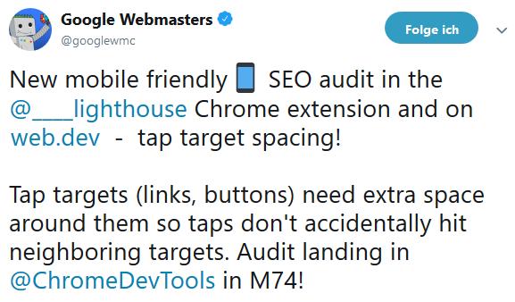 Information von Google über die Neuerung in Lighthouse auf Twitter