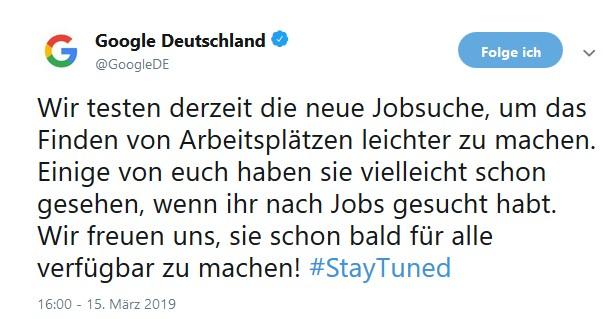 Die Google-Jobbörse wird auch bald in Deutschland verfügbar sein.