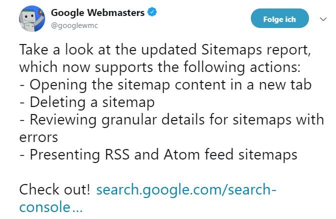 Neue Funktionen in der neuen Google Search Console zum Thema XML Sitemaps