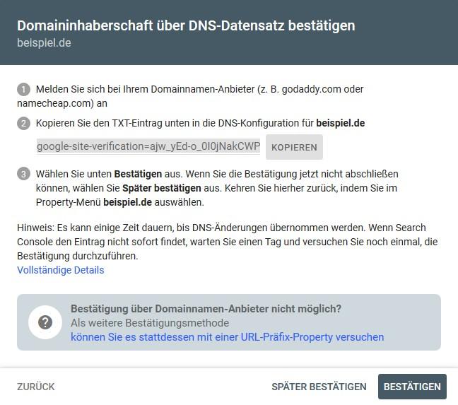 Bestätigungsverfahren für die Domain Property bei der Google Search Console