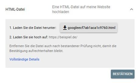 Diese zwei Schritte müsst Ihr erfüllen, um Eure Subdomain per HTML-Datei zu hinterlegen. ©Screenshot SEO-Trainee.de