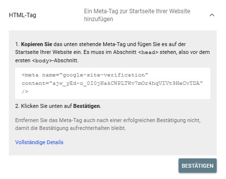 Diese zwei Schritte müsst Ihr erfüllen, um Eure Subdomain per HTML-Tag zu hinterlegen. ©Screenshot SEO-Trainee.de