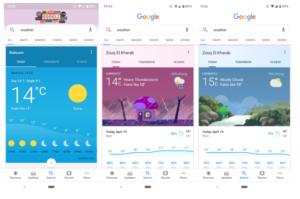 Vergleich zwischen alter und erneuerter Darstellung der mobilen Suchergebnisse zum Thema Wetter.