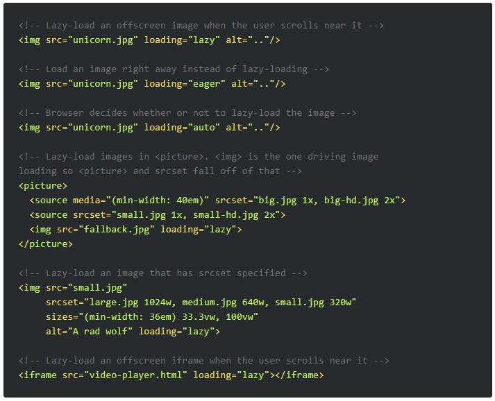 Diese Möglichkeiten gibt es, das Loading-Attribut zu implementieren.