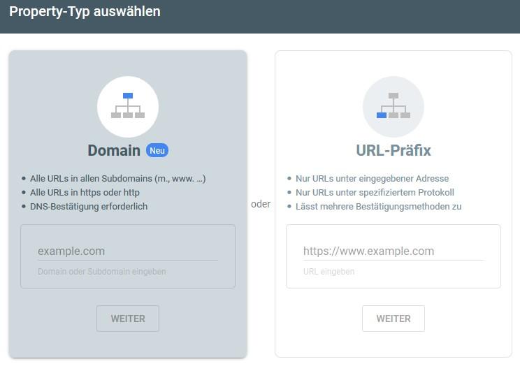 Zwischen Domain und URL-Präfix könnt Ihr Euch bei der Einrichtung der Google Search Console entscheiden.