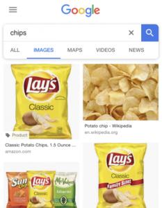"""Suchergebnisse für den Begriff """"chips"""" in den USA. Auf den Bildern sind Chipstüten zu sehen."""