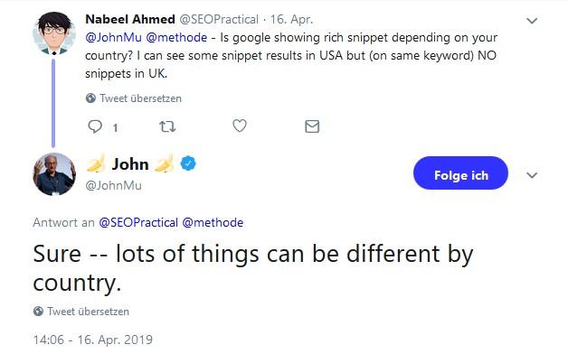 Twitter-Statement von John Mueller bezüglich Rich-Snippets.