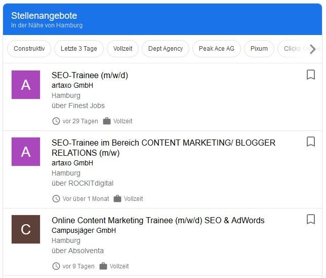 """Dies sind die aktuellen Google-Jobs-Anzeigen, die erscheinen, wenn man """"SEO Trainee"""" eingibt."""