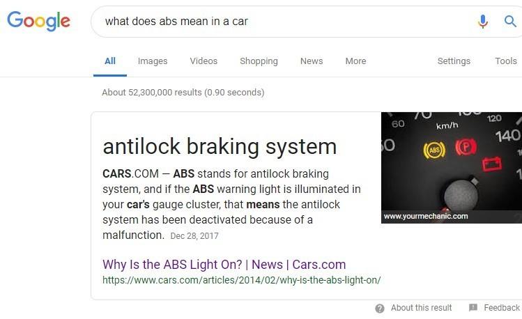 """Die e-Commerce Seite cars.com erscheint für die Suchanfrage """"what does abs mean in a car"""" auf Position 0."""