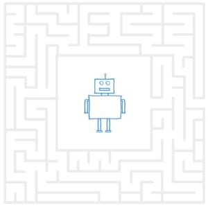 Der Google-Bot wird innerhalb eines Labyrinths dargestellt.