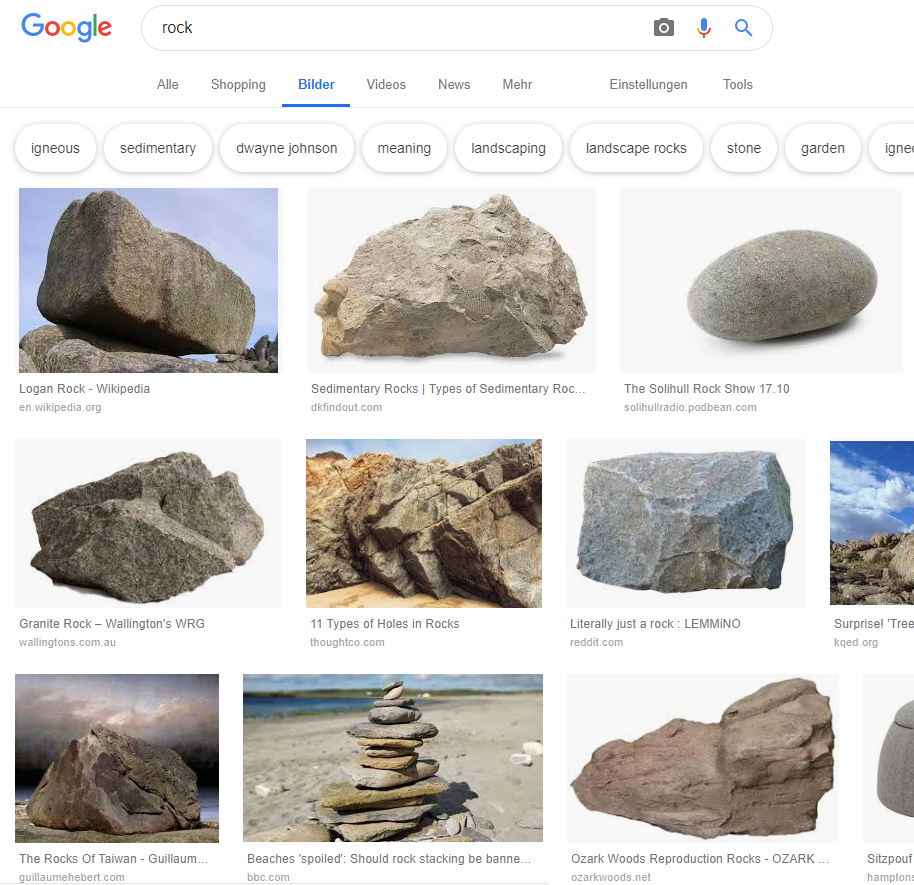 "Google-Bildersuche in Deutschland zum Keyword ""rock"". © Screenshot seo-trainee.de"