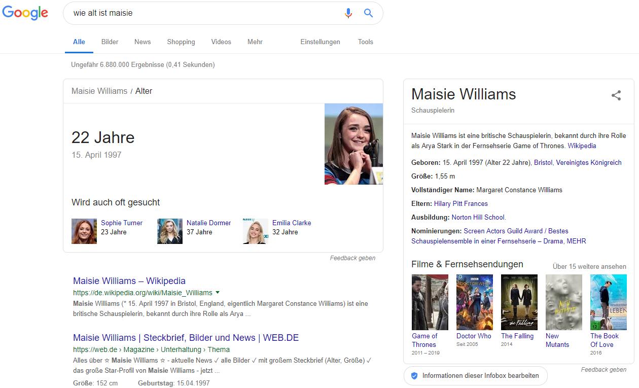 """SERPs zur Suchanfrage """"Wie alt ist Maisie"""" bei Google. © Screenshot seo-trainee.de"""