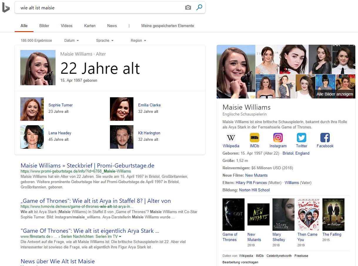 """SERPs zur Suchanfrage """"Wie alt ist Maisie"""" bei Bing. © Screenshot seo-trainee.de"""
