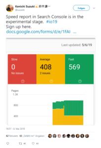 Twittermeldung über den neuen Speed Report der Search Console