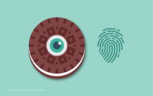Bild eines Cookies und eines Fingerabdrucks.