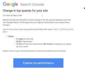 Die Google Search Console benachrichtigt Webmaster nun auch, wenn sich die Top-Suchanfrage zu einer Domain ändert. ©Eli Schwartz
