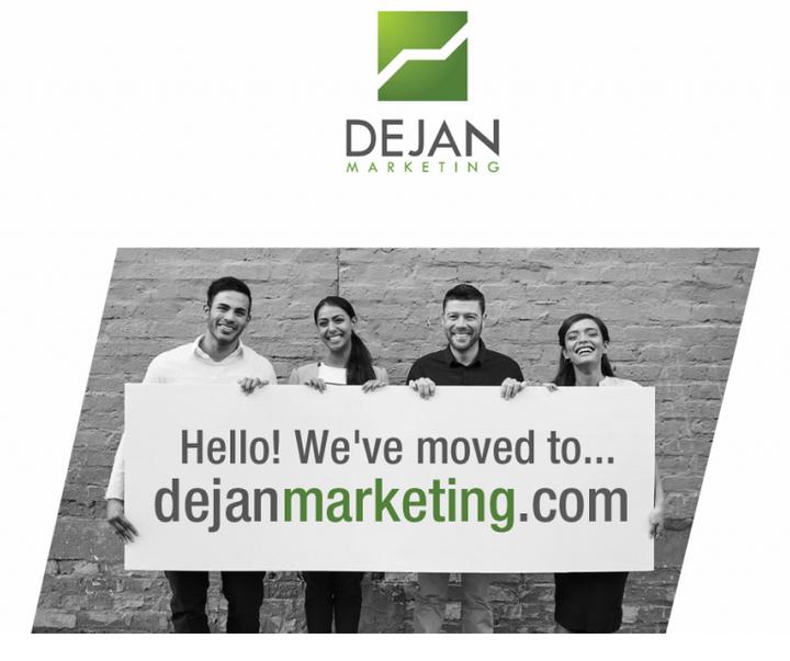 """Wenn man dejanseo.com.au besucht, erscheint eine Landingpage mit einer Grafik die Folgendes sagt: """"Hello! We've moved to... dejanmarketing.com"""""""