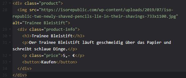 """So sieht das Produkt """"Trainee Bleistift"""" in HTML aus."""