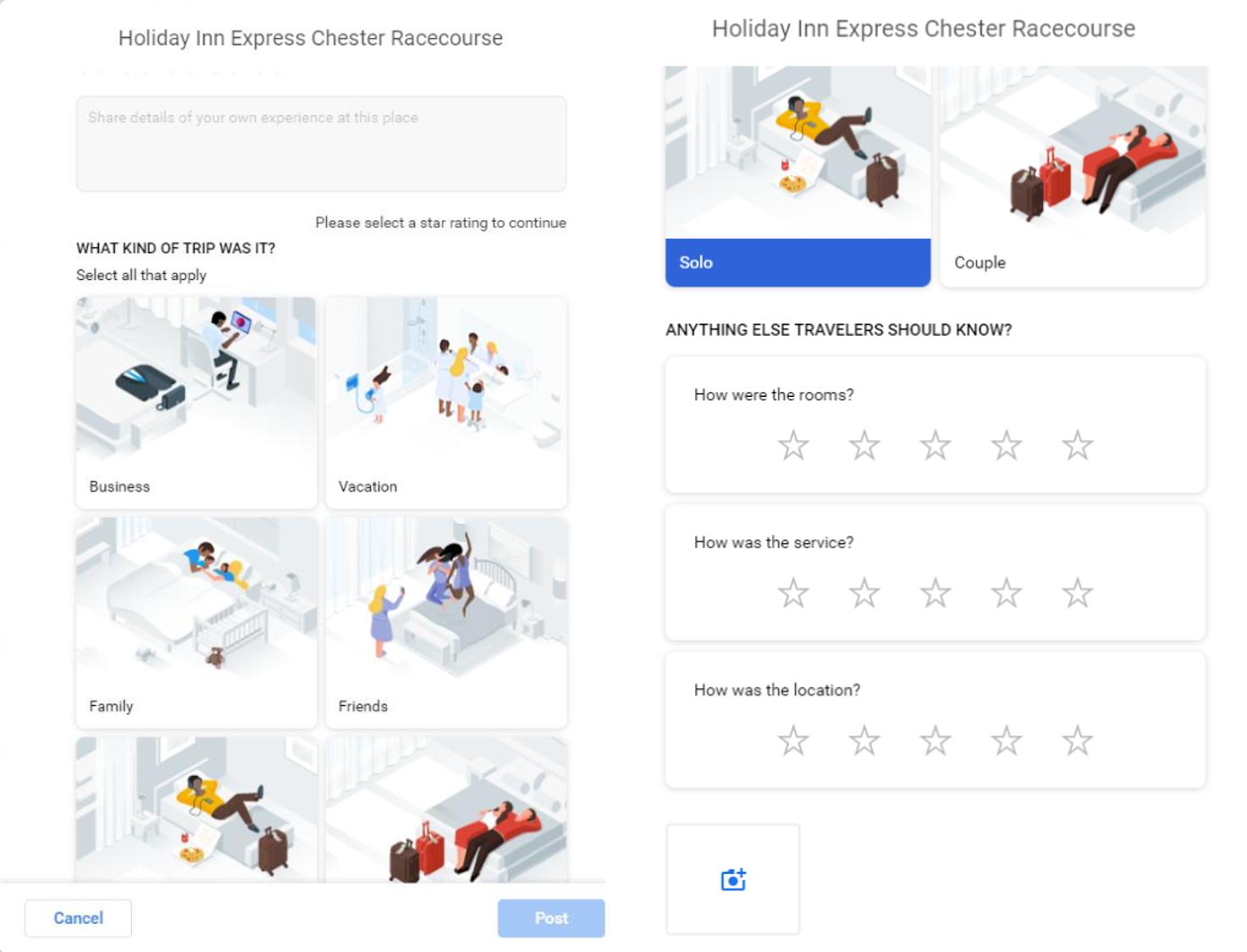 Google testet neue Bewertungsfunktionen für Hotels in Google Maps.