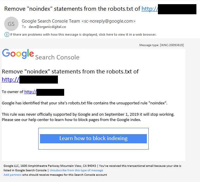 Die Noindex-Benachrichtigung, die an betroffende Webmaster von Google verschickt wurde.