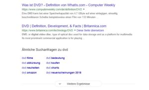 """Die Paginierung der Google-SERPs wurde durch den Button """"Weitere Ergebnisse"""" ersetzt."""