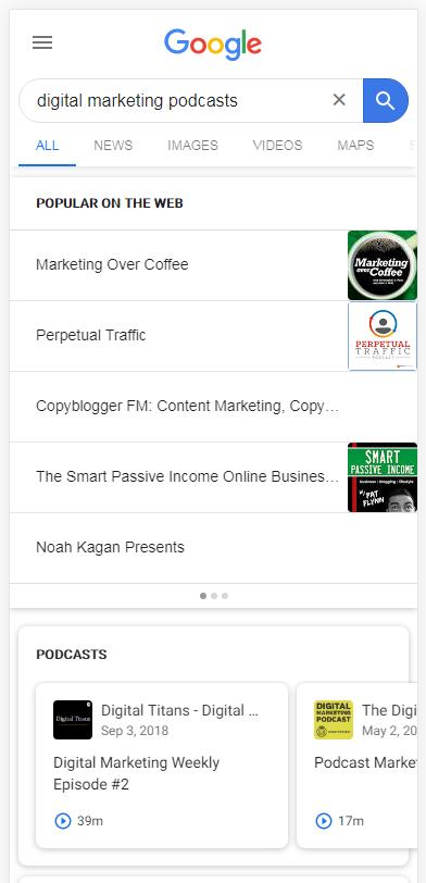 Rich-Ergebnisse für Podcasts in den mobilen Suchergebnissen von Google.