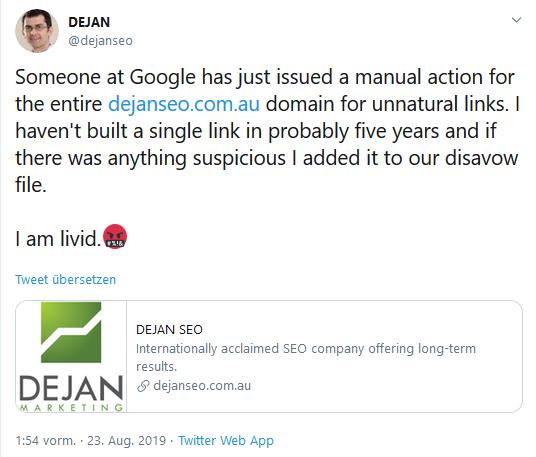 Dejan Petrovic äußert sich zu dem Google-Penalty über Twitter.