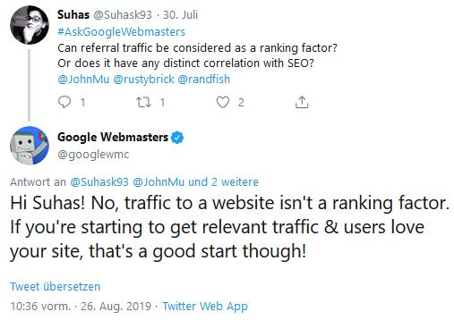 Traffic ist kein Ranking-Faktor für Google.