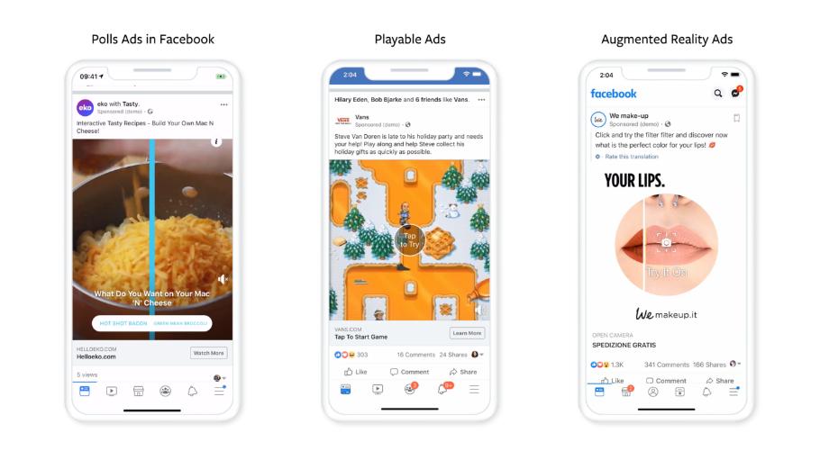 Die Werbeformate Polls Ads, Playable Ads und Augmented Reality Ads sind ab sofort bei Facebook verfügbar.