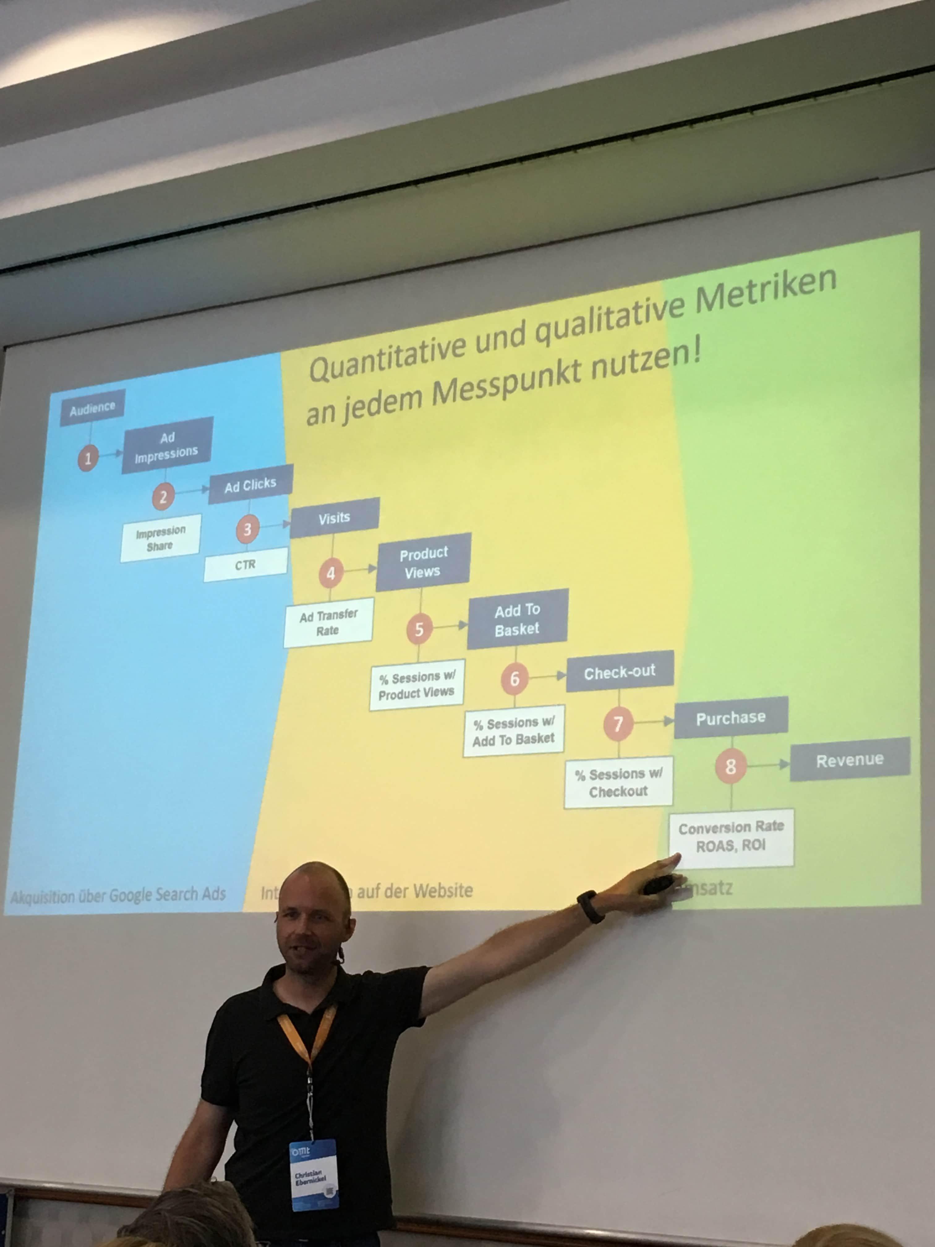 Christian Ebernickel erklärt welche quantitative und qualitativen Metriken wann gemessen werden können.