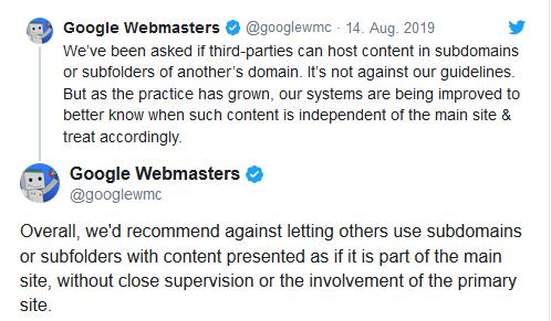 Google Webmaster äußert sich über Twitter zu White-Label-Seiten