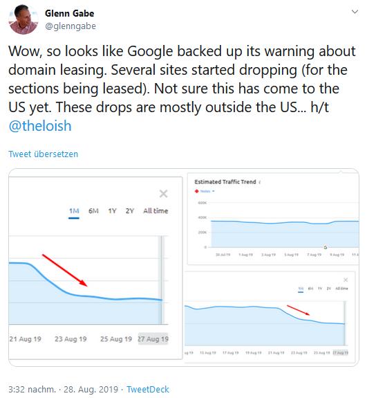 Glenn Gabe teilt seine Beobachtungen über Ranking-Verluste einer White-Label-Seite auf Twitter.