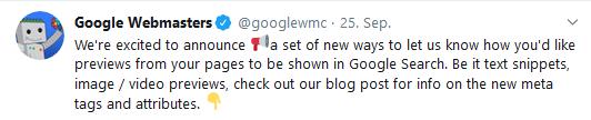 Google Webmaster kündigt neue Optionen für mehr Snippet-Kontrolle auf Twitter an.