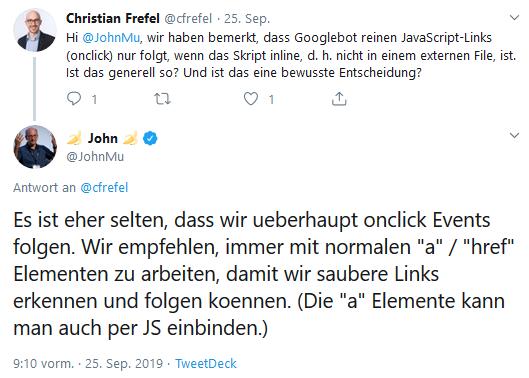 John Mueller empfiehlt generell a- oder href-Elemente zu verwenden.