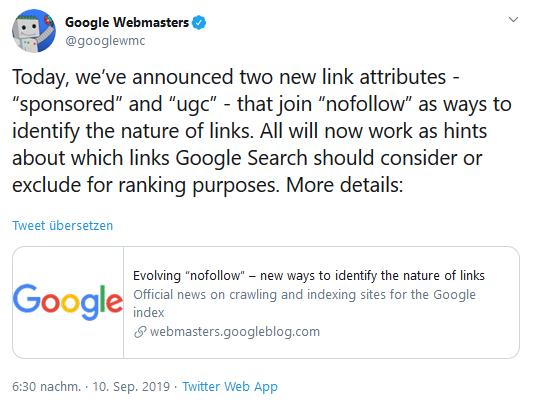 Google Webmaster kündigt die Einführung der neuen Link-Attribute über Twitter am 10. September 2019 an.