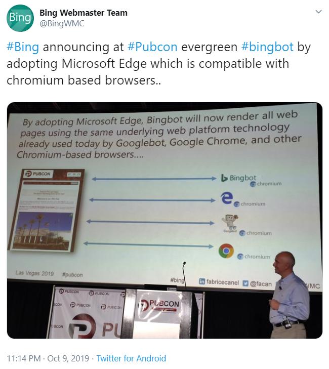 Der Bingbot stellt auf Chromium um.