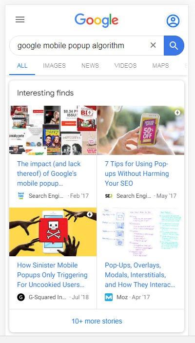 Interesting Finds als Platz 1 in den Suchergebnissen