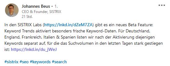 "Johannes Beus kündigt auf LinkedIn den neuen Sistrix-Bereich ""Keyword Trends"" an."