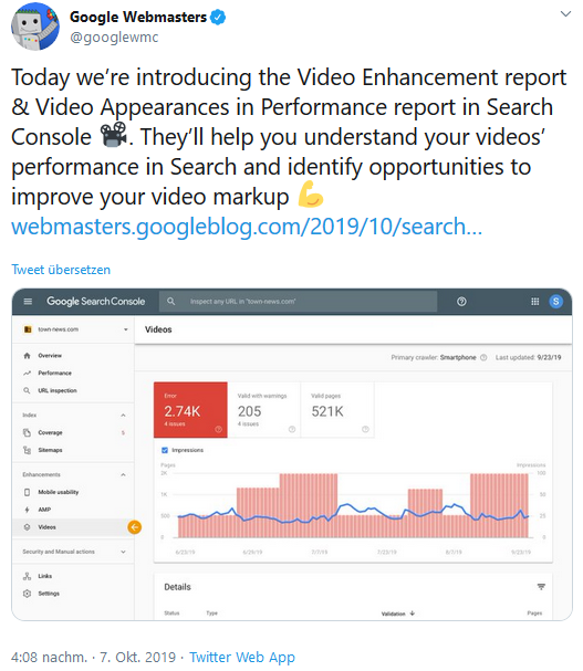 Neuer Video-Report in der Google Search Console