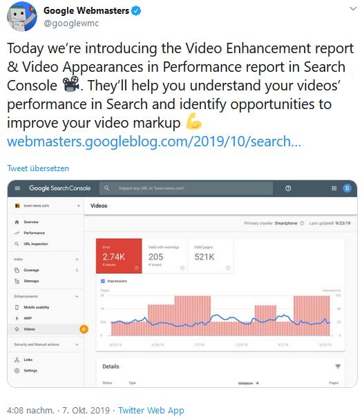 Neuer Video-Report in der Google Search Console