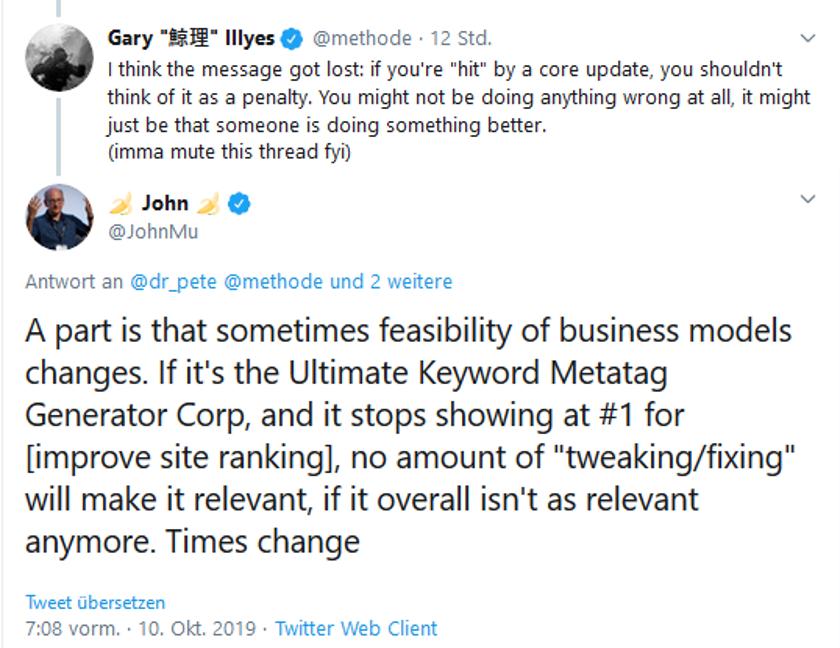 Gary Illes und John Mueller äußerten sich auf Twitter zu Core-Updates.