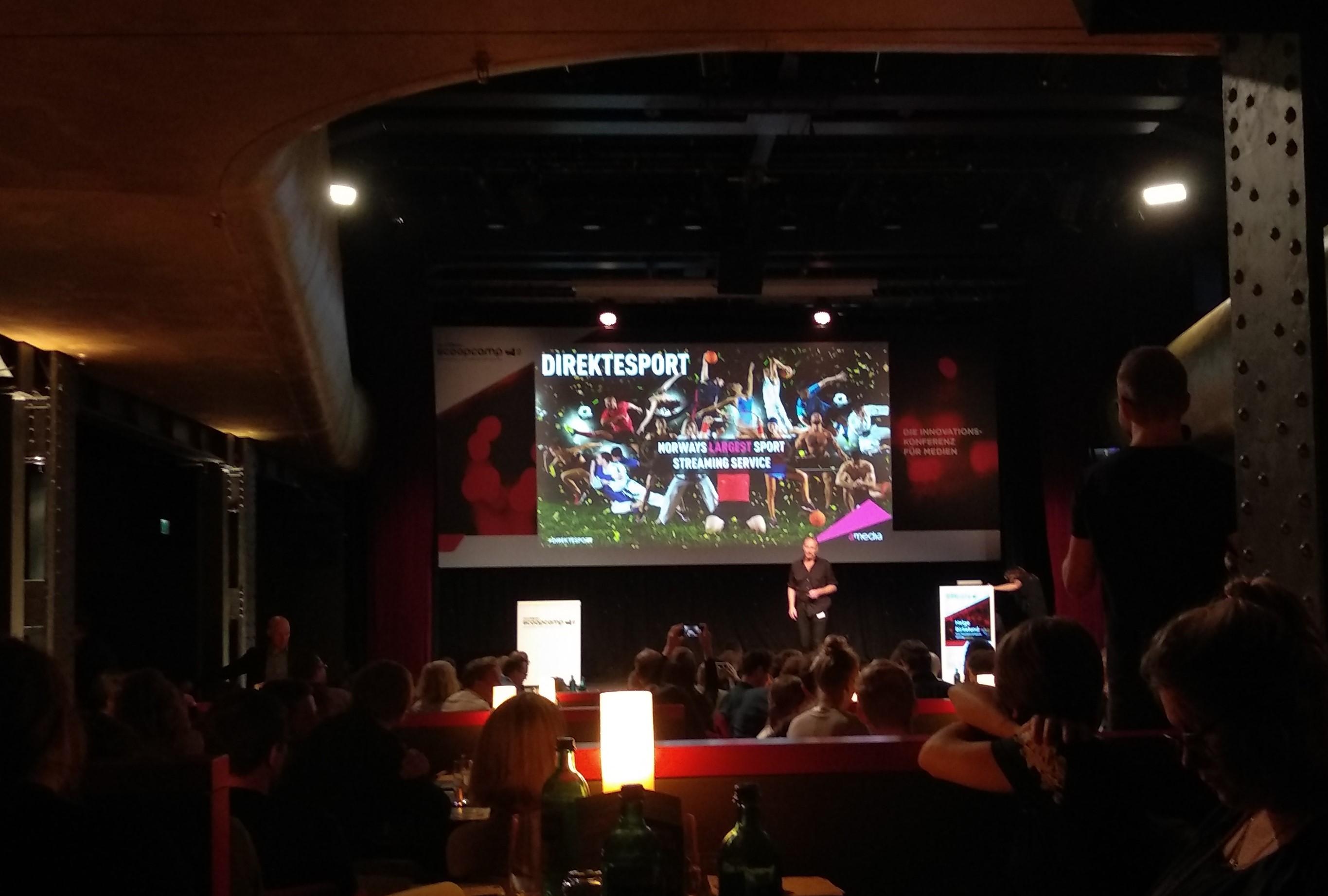 Scoopcamp-Vortrag von Helge Birkelund über das Portal Direktesport von Amedia