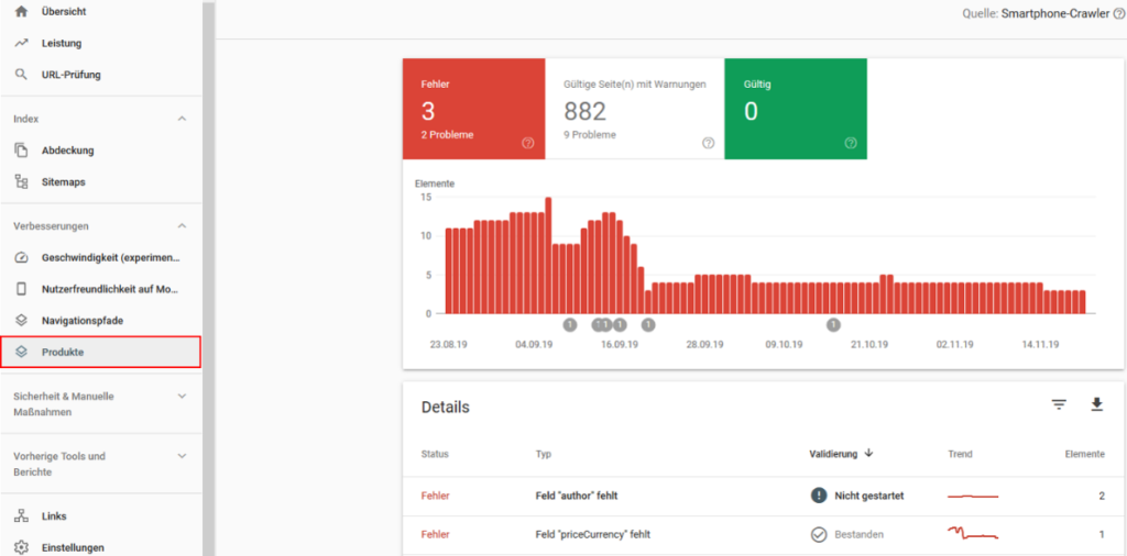 Markup-Implementierung in der Google Search Console