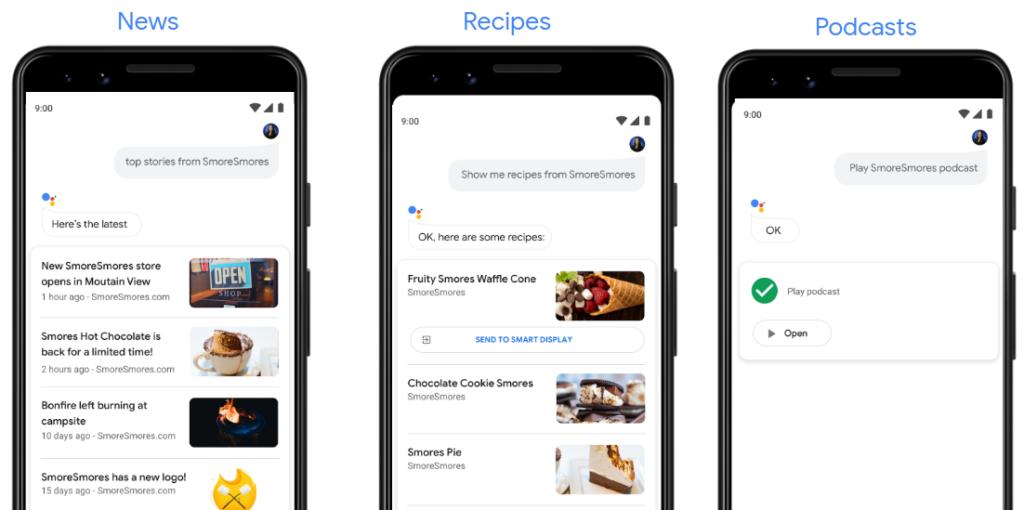 Google Actions Suchergebnisse